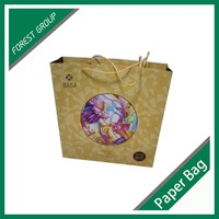 Custom ribbon handle shopping paper bag with logo print