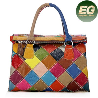 Alibaba wholesale best sell leather patchwork bags woman tote handbags EMG3752