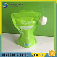 Children Promotional PVC Free Plastic pouch/Baby food pouch with spout/smoothies, yogurts food pouch with caps