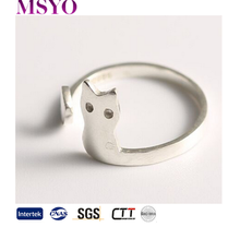 MSYO brand pure 925 Sterling Silver 3D Cute Cat Adjustable Open Pet Ring