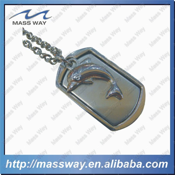 customized embosed 3D fish shape pet metal zinc alloy silver dog tag