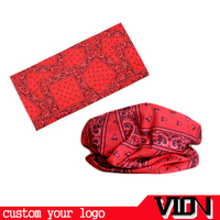 Customized Logo Printed 100% Polyester Red Color Microfiber Neck Tube Bandana