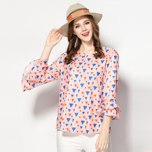 SN3126 latest design mature ladies printed flouncing sleeve chiffon women tops and blouses