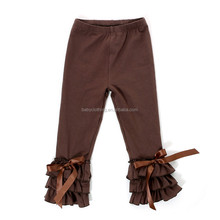 solid color baby icing ruffle pants brown icing leggings wholesale icing pants