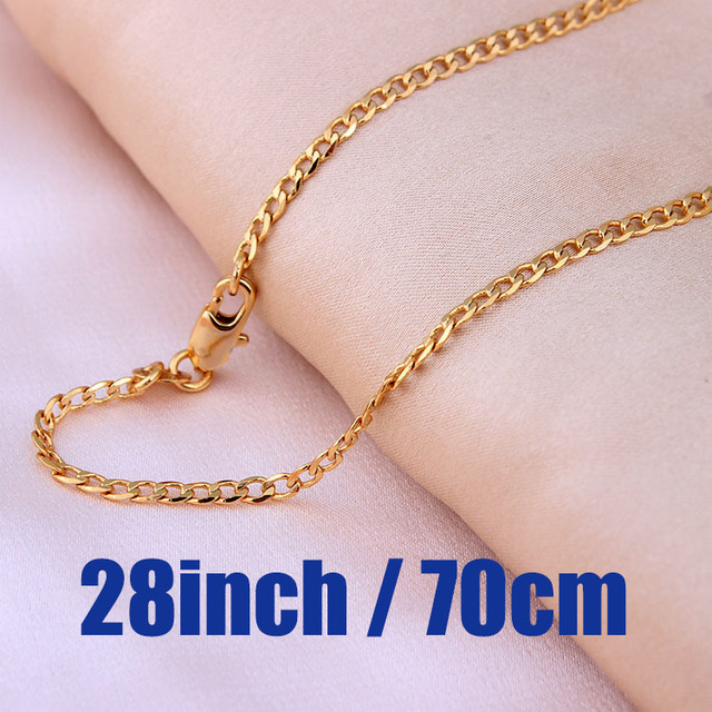 Gold plated Chains Necklace For Men chain length 16/18/20/22/24/26/28/30 inch 2mm Costome Accessories Jewelry wholesale