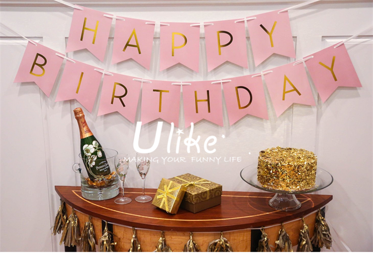 Pastel Perfection and Gold Foiled Happy Birthday Bunting Banner, Pink