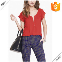2016 summer fashion mixed texture hi-lo shirttail hem zip front blouse