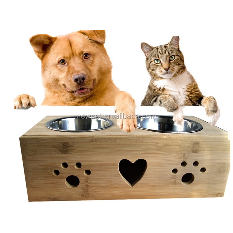 Super quality hot-sale bamboo,stainless steel pet feeder wood bowl dog