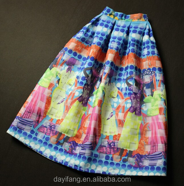 women wholesale price exotic printed organza knee length printing skirts