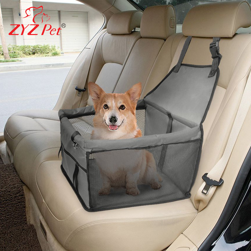 ZYZ Car Booster Seat Carrier for Dog Folding Pet Cat Car Travel Safety Seat Belt Harness Cover Pet Traveling Carrier Bag
