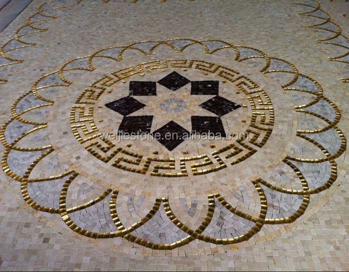 Lobby Floor Luxury Tile Marble Mosaic Medallion Pattern