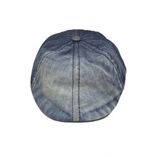 Promotional custom denim beret washed newsboy unisex ivy cap hat for adult