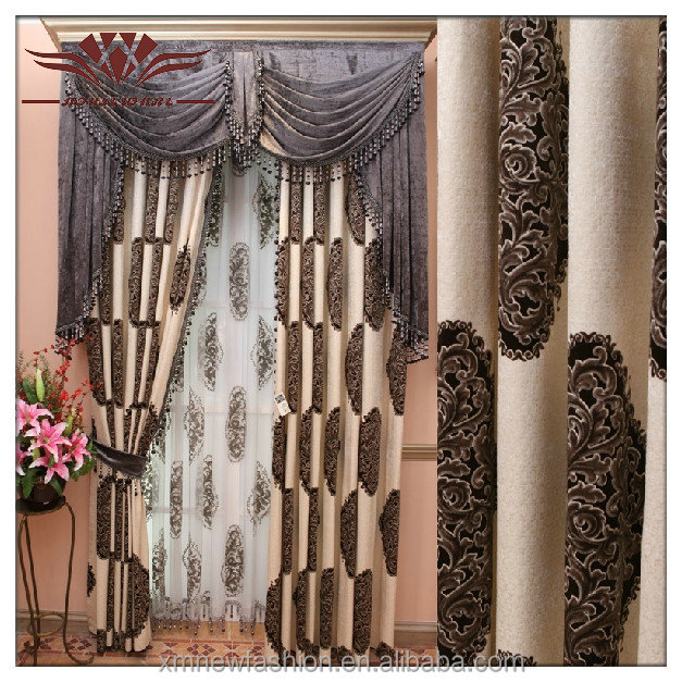 curved track curtain , double layer Style valance curtain patterns ,luxury european style window curtain