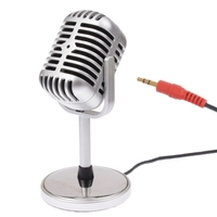 3.5mm Plug Stereo Karaoke Retro Style Microphone for PC Laptop Computer