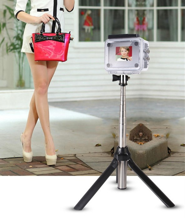 wireless bluetooth remote monopod selfie stick camera tripod with zoom function