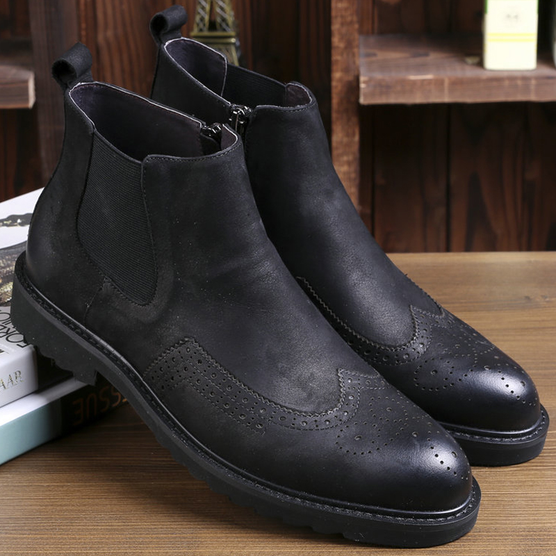 Italian fashion design classical brown genuine leather winter men chelsea <strong>boots</strong>