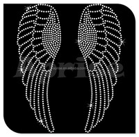 Angel Wings hotfix rhinestone motif design for T-shirt