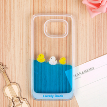 For Samsung Galaxy S6 Hard Case Cute Dynamic Flowing Liquid Swimming Yellow Duck & Animal Case 3D Cartoon Phone Case