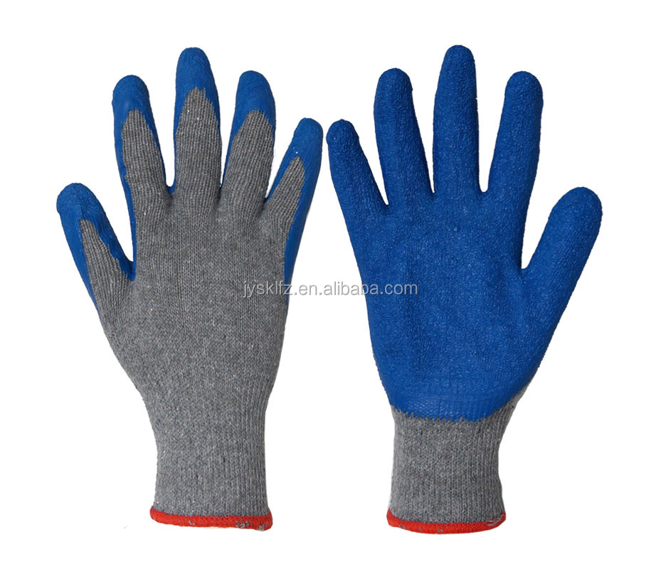 Cheapest polycotton Latex Gloves for industrial use HOT SELL construction latex Gloves Safety latex gloves with top hign qualit