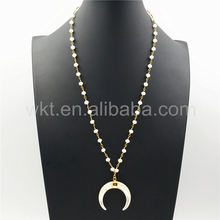 "WT-N864 2017 Trendy Crescent Pearl Necklace for Women, Fashion Jewelry 24"" White Jade Rosary Chain Moon Pearl Necklace"