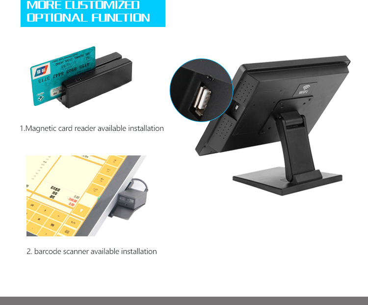 15'' and 15 '' dual screen POS with metal stand