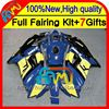 Blue yellow 7gifts For HONDA CBR600F3 97-98 CBR 600F3 CBR600 F3 20CL51 CBR 600 F3 1997 1998 CBR600RR 97 98 Fairing blue black