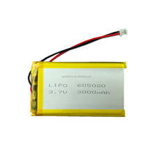 JOY lipo 605080 3.7v 3000mAh lithium li ion polymer rechargeable battery pack with pcm and connector