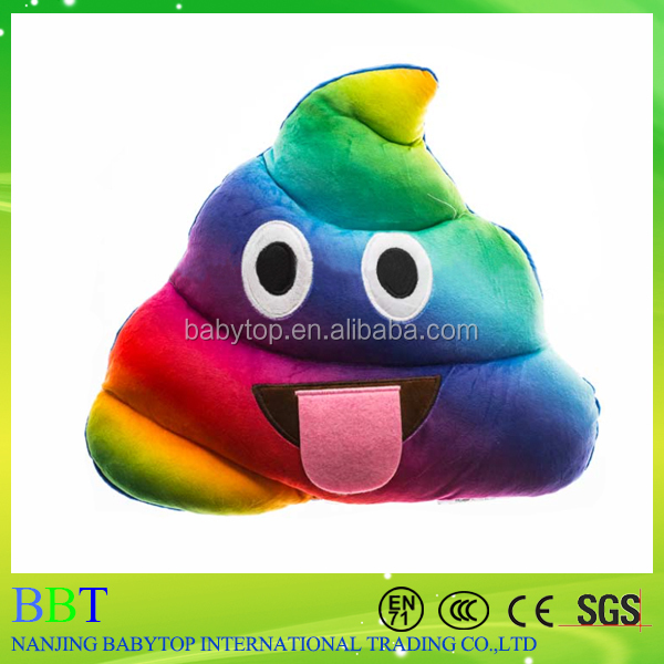 Fashionable Funny Tongue Sticking Out Rainbow Emoji Poop Pillows