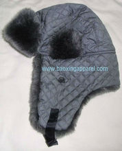 Dark Grey Nylon Quilted Soft Faux Fur Winter Aviator Trooper Ski Hat