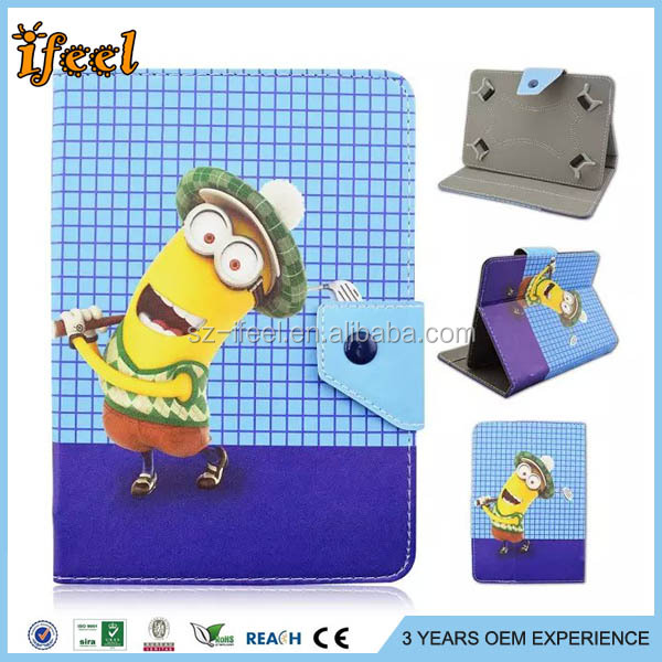 Cute despicable me tablet case cartoon case for ipad air for kids for android tablet pc