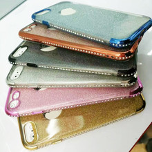 Fashion Glitter Three Stage Electroplating Diamond Plating Tpu Clear Case For iphone 7 mobile phone case