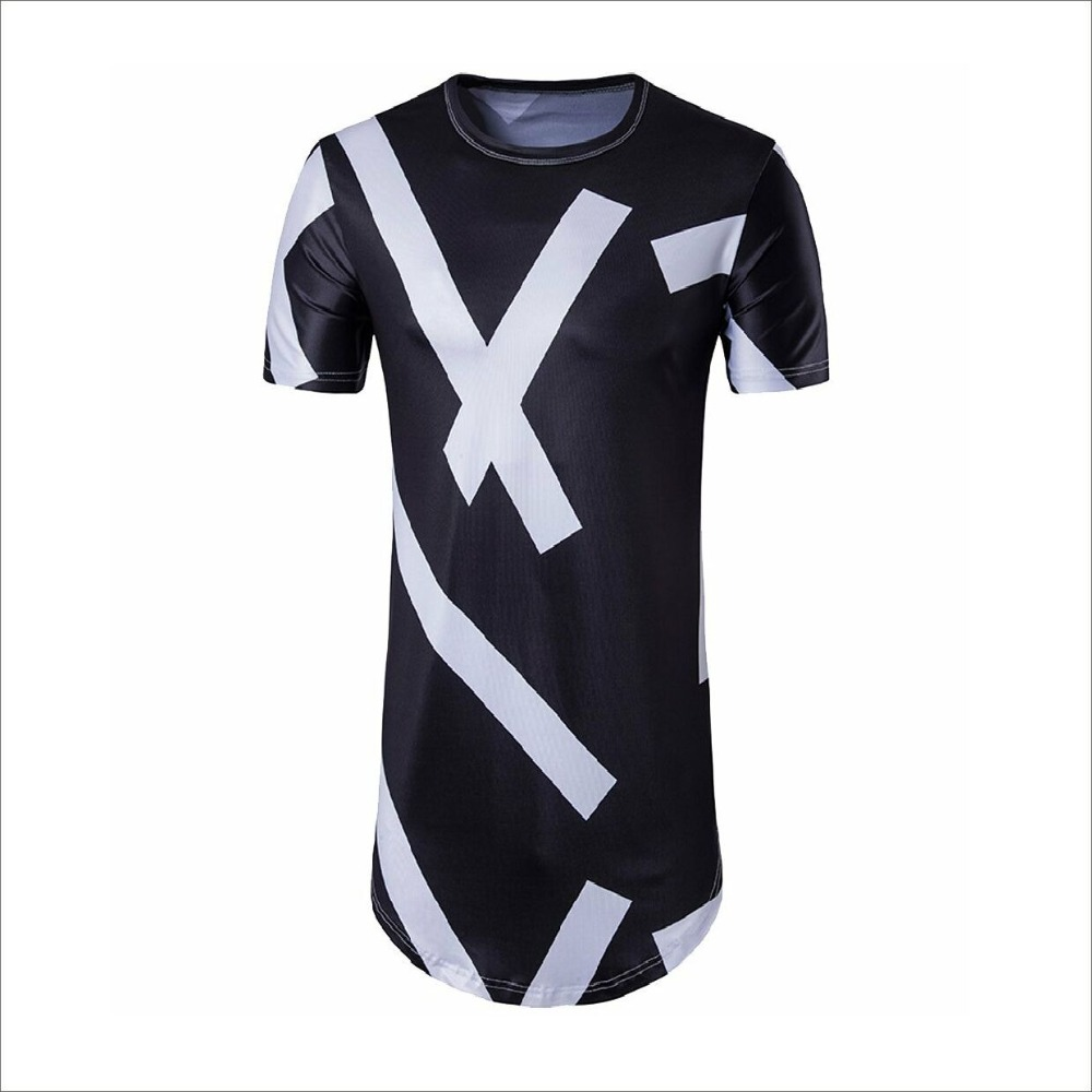 Men Sublimation T-Shirt For Wholesale Fashion Personal Printing Longline Hip Hop Tshirt