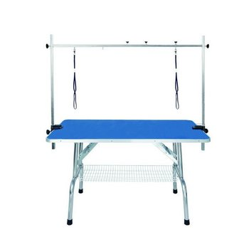 UW-GR-015 Foldable stainless steel grooming table for pets,blue surface