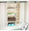 6 Shelf Clothing Shoes Accessories Storage Hanging Closet Organizer with Drawers
