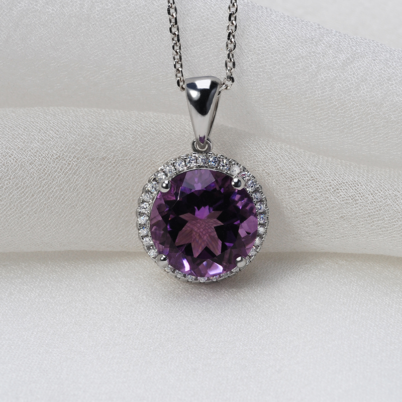 natural amethyst 925 sterling silver pendant simple jewelry