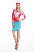 WOMENS MENS GENTS CHILDREN KIDS RED & WHITE STRIPED T SHIRT FANCY DRESS COSTUME