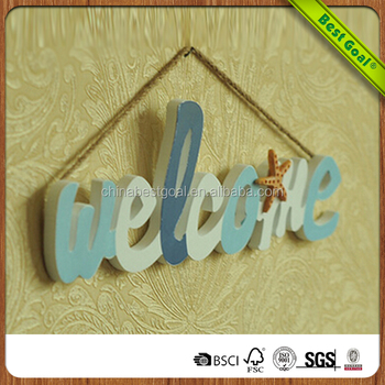 Wood wall hanging letter WELCOME wall sign
