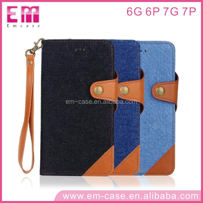 High Protective 2 in 1 Cool Denim Wallet Cell Phone Case For iPhone6 6plus 7 7plus