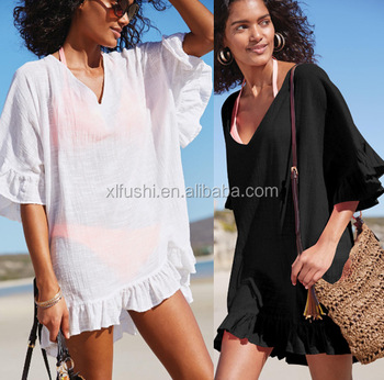 STOCK Two Colors Ruffle Details Sexy Lady Beach Dress Bikini Cover Ups