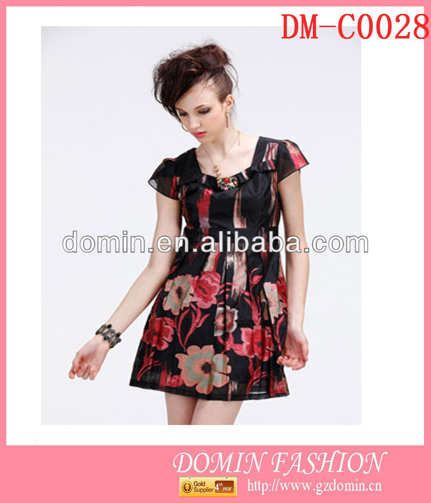 European and American clothing brand name professional ladies short sleeve fashion casual summer dress made in Guangdong