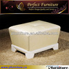 Genuine leather OR fabric or PU leather covered wood ottomans CN120916