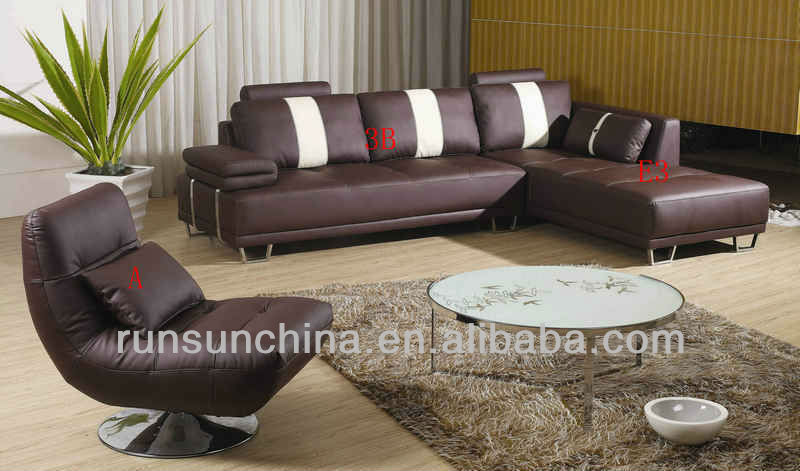 2013 new style modern comfortable golden quality pure leather sofa bad