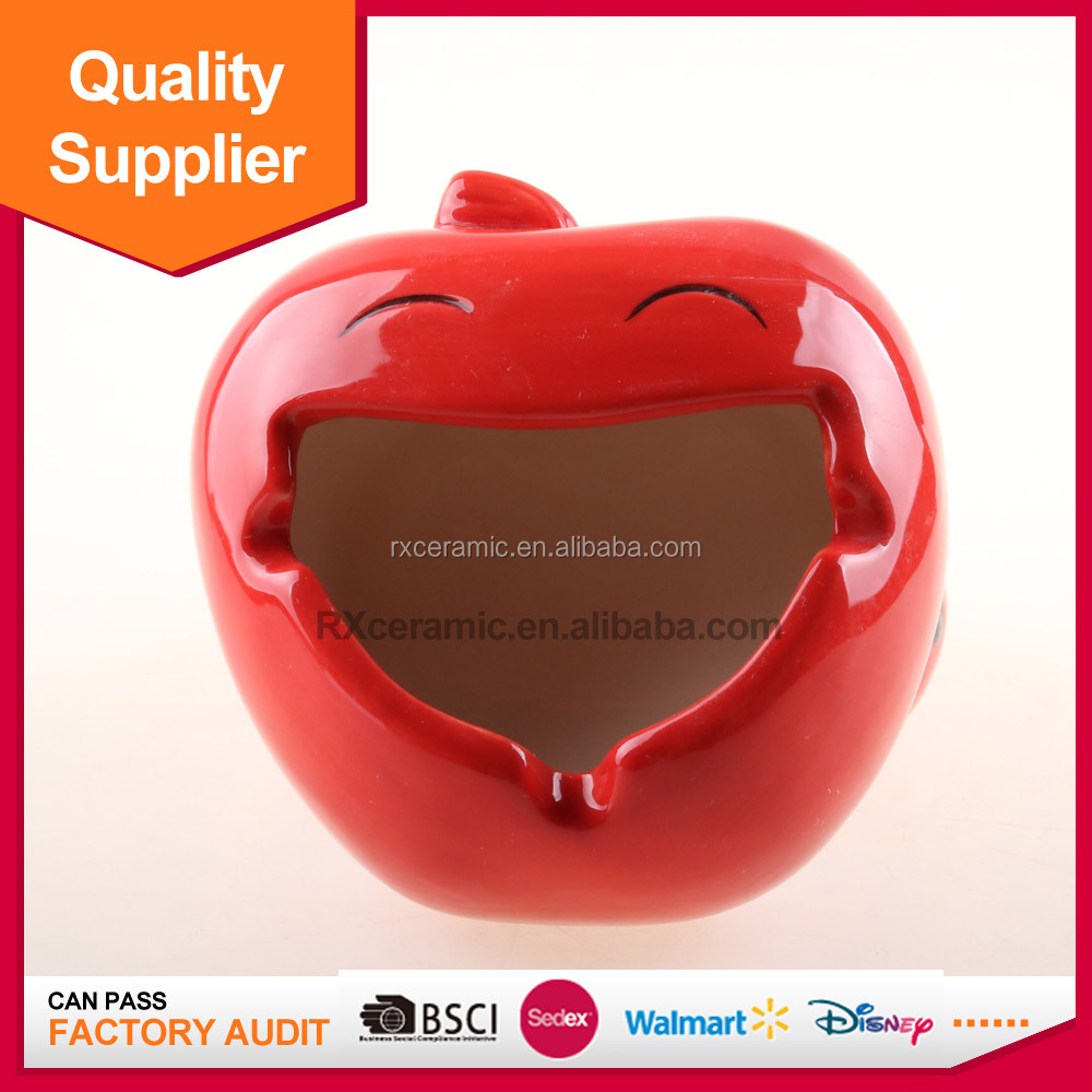 TOP selling commercial apple ashtray ceramic matarial for decoration