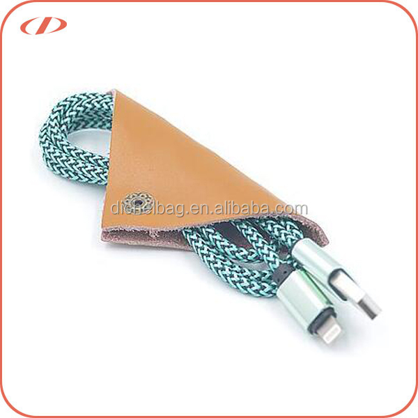 Wholesale promotional genuine leather earphone cable organizer