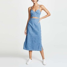 Woman clothing a line maxi women denim dress