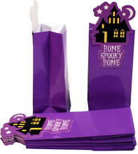 Halloween purple glossy coated treat or trick bakery paper bag/food packaging bag/fries and chips bag