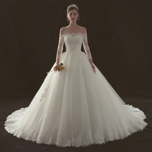 long sleeve ball gown wedding dresses embroidery lace bridal wedding gown corset wedding dress with long train