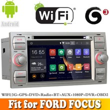 Pure android 4.4.4 system car dvd gps navigation fit for FORD FOCU S 2005 - 2007 WITH CHIPSET WIFI 3G INTERNET DVR OBD2 SUPPORT