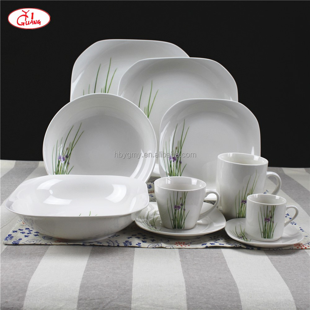 32 PCS purple and green flower porcelain square dinnerware set for German and Austria