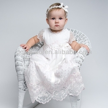 floral embroidered lace short sleeve ivory wholesale christening gowns